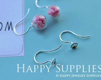 3.2 Per Set - 2 sets (1 pairs) 10mm Clear Glass Globe Bottle With 925 Sterling Silver Earring Hook (ZE169)