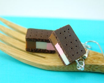 Sale // Food Earrings // READY TO SHIP // Neapolitan Ice Cream Sandwich Earrings