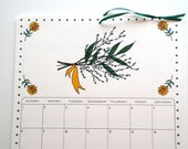 2017 Wall Calendar, size 8.5x11 inches featuring 12 different garden themed illustrations in green, brown, mustard, coral, orange and teal