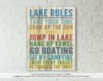 LAKE RULES - Real Wood Rustic Planked Wood Sign Beach Lake House Decor