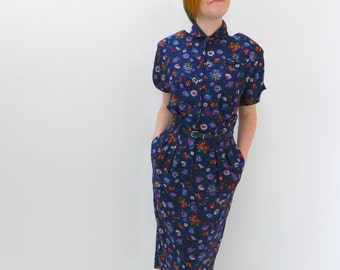 1980s Floral Dress ... 80s Does 50s Midi Dress ... Belted ... Short Sleeves .. Size Small to Medium