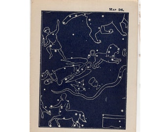 1910 mini constellation figures original antique celestial astronomy print -  map 26