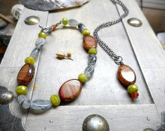 Autumn Equinox Necklace and Bracelet. Orangle Carnelian, Rutilated Quartz, Glass Necklace and Bracelet Set. October Autumn Sunset ooak Boho