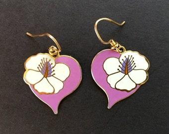 Lauren Burch Hibiscus Heart Enamel Earrings