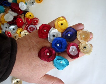 """Small Fabric Flowers Tiny Fabric Flowers, wholesale flowers, 1"""" flowers 20 pcs"""
