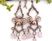 Gypsy wire wrap chandelier earrings boho wire wrapped jewelry