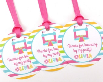 Girl Bounce House Party Favor Tags, Bounce Party Favor Tags, Bounce House Favor Tags, Bounce House Party Decorations - SET OF 12