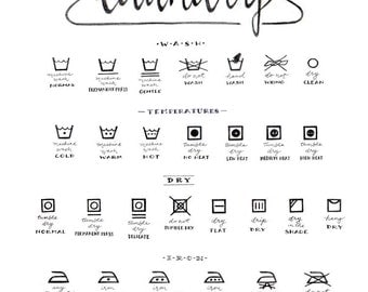 Laundry Care Guide Symbols Chart Calligraphy Art Housewarming Gift Black And