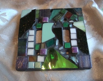 MOSAIC LIGHT SWITCH Plate Cover - Double, Multicolor, Green, Boho, Wall Art