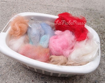 goat fiber for mini doll hair, spinning, feling on sale mix color in bag for spinning and felt