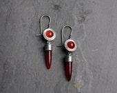 Fire Ball Drop Earrings (unique handmade fabricated recycled silver antique lace carnelian bullet drop earrings)