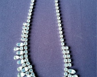Vintage Costume Jewelry - Blue Aquamarine Rhinestone Necklace