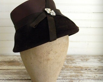 Vintage Hat, Brown Hat, 1960s Formal Hat, Church Hat, Womens Vintage Hats Brushed Wool Felt & Satin Bucket Hat with Rhinestone Embellishment