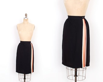 Vintage 1980s Skirt / 80s Black Pencil Skirt with Colorful Pleat / Black (extra Small XS)