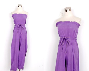 Vintage 1970s Jumpsuit / 70s Strapless Cotton Gauze One Piece / Purple and Gold (XS extra small)