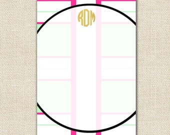 Monogrammed Notepad - TORY Collection - Mint
