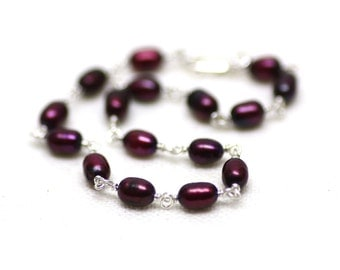 Crimson Red Freshwater Pearl Bracelet Wire Wrapped on Sterling Silver | Deep, Rich Red Bridal Jewelry | Handmade by Azki