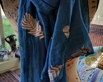 Blue Stitched Feather Scarf, cotton linen blend embroidered fall scarf