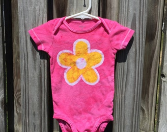 Flower Baby Bodysuit (9 months), Pink Baby Bodysuit, Baby Girl Gift, Baby Shower Gift, Yellow Flower, Pink Baby Gift, Batik Baby Bodysuit