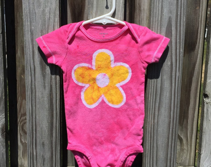 Flower Baby Bodysuit (9 months), Pink Baby Bodysuit, Baby Girl Gift, Baby Shower Gift, Yellow Flower, Pink Baby Gift, Batik Baby Bodysuit