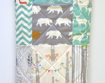 Modern Baby Quilt- Organic birch Fabric-Rustic Baby Boy Bedding-Gray-Grey-Aqua-Woodland Animal-Elk-Owl-Bear-Deer Baby Blanket
