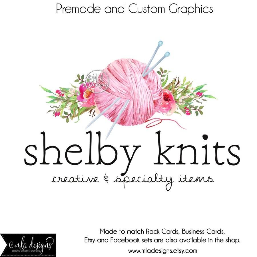 Knitting logo premade watercolor logo crochet logo zoom magicingreecefo Image collections