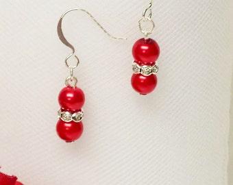 Crimson Red Pearl Earrings - Traditional Bridesmaid Earrings - 6mm Rondelle Rhinestone Flower Girl Earrings