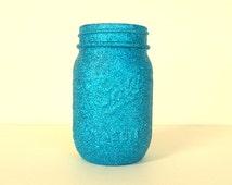 Aqua Glittered Pint Mason Jar, Flower Vase, Wedding Decoration, Makeup Brush Holder, Pen and Pencil Holder, Bulk Discount Available