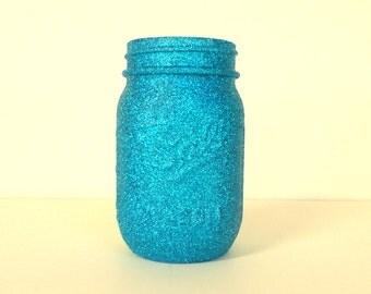 Aqua, Peacock Blue Glittered Pint Mason Jar, Flower Vase, Wedding Decoration, Makeup Brush Holder, Pen and Pencil Holder