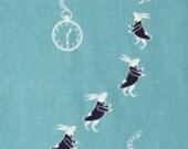 Japanese Tenugui Towel Cotton Fabric, Pocket Watch & Rabbit, Animal Art Design, Hand Dyed Fabric, Wall Art Hanging, Gift Idea, Scarf, a41
