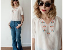 Vintage 1940's/1950's Embroidered Hungarian Blouse/ Fine Cotton Peasant Blouse