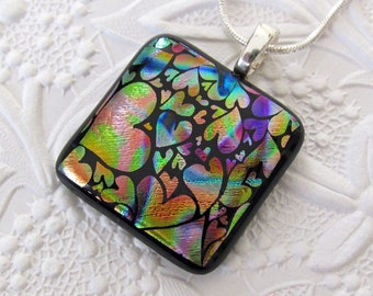 Dichroic Glass Pendant and Necklace - Hearts Galore - Dichroic Fused Glass Jewelry - Dichroic Pendant - Necklace - 32-14