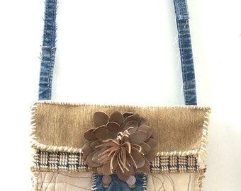 Handmade Artsy Crossbody Bag, Upcycled, Neutral Colors