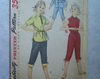 Vintage 1950's Girl's Shirt and Pedal Pushers/Capris Pattern - Simplicity 4987 - 28 Bust - Size 10