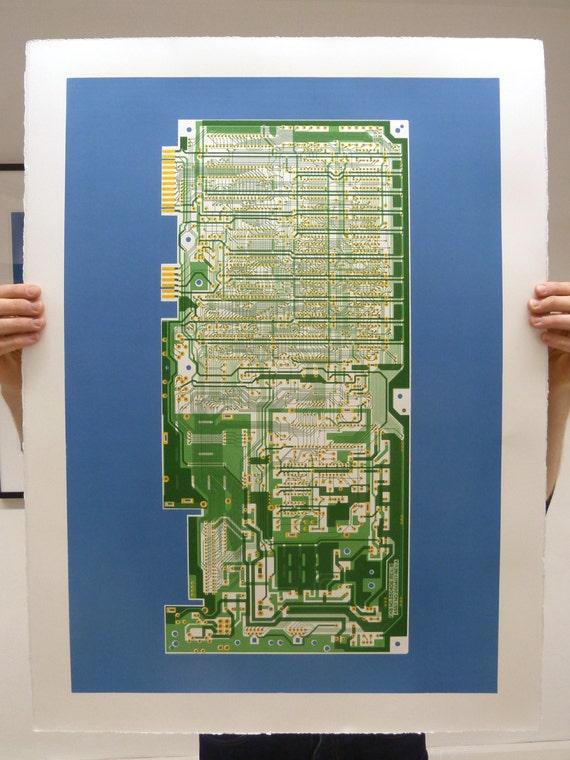 Commodore 64 (C64) screen print green and blue art silkscreen circuit portrait retro computing