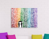 LGBT Art, Lesbian Gift, Rainbow Wedding, Lesbian Painting, Melted Crayon Art, Gay Pride, Girl Girlfriend Gift 16x20 Wax Painting Canvas Art