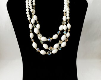 White Bead Necklace, Aurora Borealis Necklace, White Necklace, Multistrand Necklace, Multistrand Beaded Necklace, Triple Stand Necklace