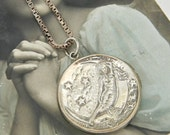 Antique Moon Lady Locket Necklace, Sterling Silver Nymph Locket, Large Round Locket Art Nouveau Locket, Moon & Stars, Nude Risque