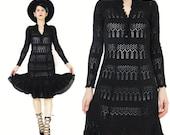 1970s Crochet Knit Dress Black Sweater Dress Hand Knitted Dress Long Sleeve Knit Dress Peekaboo Sheer Dress Granny Knee Length Dress (XS/S)