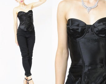 Vintage Black Satin Bustier Black Corset Pinup Burlesque Corset with Boning Strapless Bustier Top Sexy Sweetheart Dita Von Teese (S/M) E2085