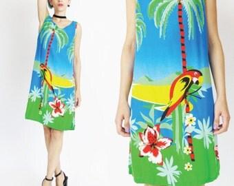 Vintage 1990s Tropical Dress Hawaiian Mini Dress Novelyt Parrot Print Dress Palm Trees Floral Beach Dress Sleeveless Tie Back Dress (S/M)