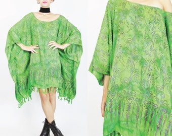 Beach Caftan Dress Hippie Boho Dress Draped Plus Size Dress Lime Green Ethnic Batik Print Dress Fringe Hem Cover Up Oversize Muu Muu (L/XL)
