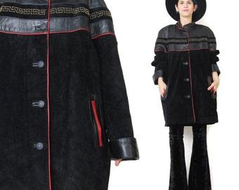 1980s Black Suede Leather Coat Black Suede Jacket Slouchy Gold Studded Leather Jacket Greek Key Color Block Black and Red Winter Coat (L)