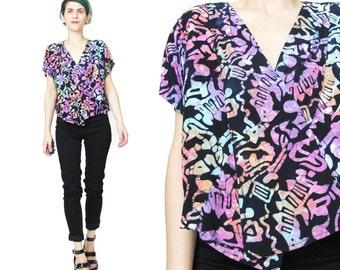 80s Batik Crop Top Boho Batik Print Blouse Vintage Hippie Top Ethnic Print V Neck Shirt Short Sleeve Asymmetrical Cropped Summer (S/M)