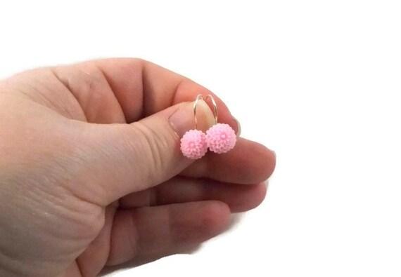 pink flower earrings simple earring tween jewelry jewelry