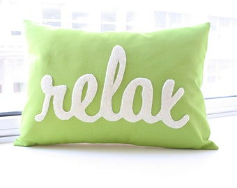 Custom Relax Pillow in Your Color Choice - Relax Pillow in Script - Mothers Day Gift