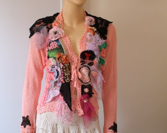 Art to wear Shabby chic Romantic Pink Hand knit Loose Embroidered Beaded Blouse Sweater Cardigan Tattered Textile Collage  Size M -L - XL