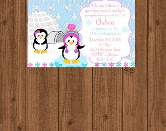 Winter Onederland Penguin Party Invitation, Penguin Winter Birthday Invitation