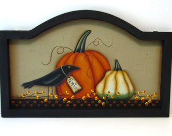 Primitive Pumpkin, Squash, and Crow Framed Arched Sign, Handpainted Wood, Hand Painted Fall Home Decor, Autumn Wall Art, Tole Painting, B3