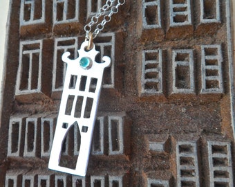 Amsterdam House 1 Sterling Silver and Apatite Necklace